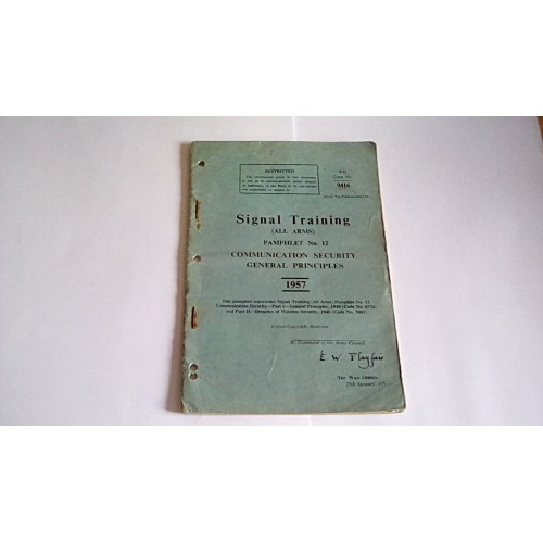 SIGNALS TRAINING COMMUNICATION SECURITY GENERAL PRINCIPLES 1957